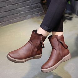 Shoespie Plain Platform Side Zipper Ankle Boots