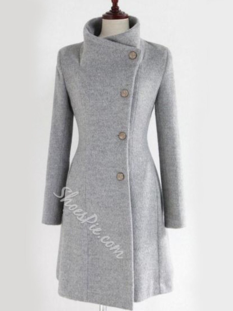 Belt Regular Single-Breasted Winter Women's Overcoat