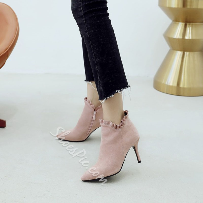 Shoespie Casual Stiletto Heel Suede Ankle Boots