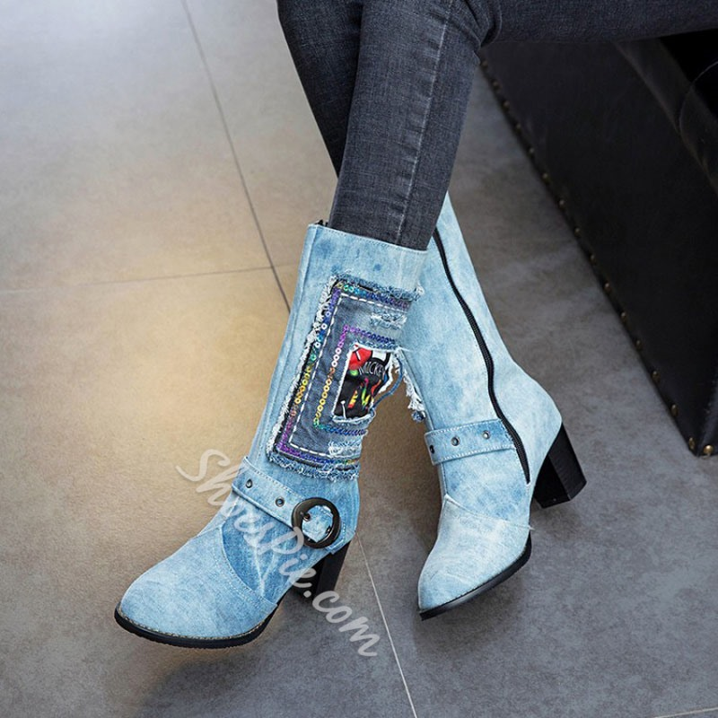 Shoespie Worn Denim Blue Fashion Ankle Boots