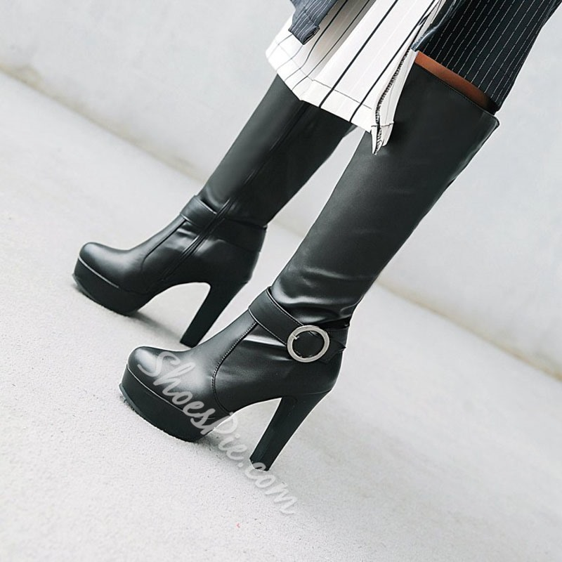 Shoespie Platform Buckle Plain Knee High Boots
