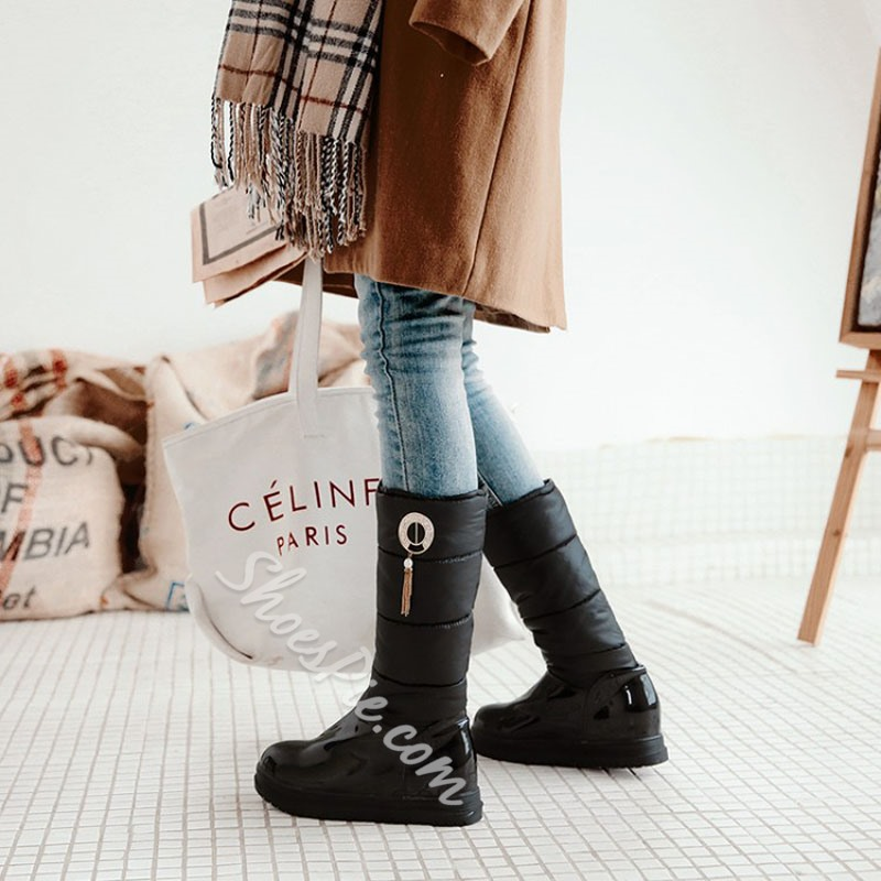 Shoespie Diamond Beads Fringe Knee High Boots