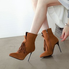 Shoespie Fringe Pointed Toe Stiletto Heel Ankle Boots