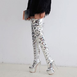Shoespie Silver Sexy Platform Stiletto Heel Thigh High Boots