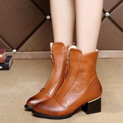 Shoespie Casual Zipper Brush Off Ankle Boots