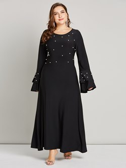 Expansion Beads Polyester Women's Maxi Dress