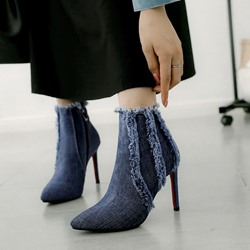Shoespie Denim Blue Worn Stiletto Heel Ankle Boots