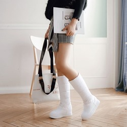 Shoespie Beads Slip-On Wedge Heel Knee High Boots