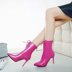 Shoespie Back Zip Pointed Toe Stiletto Heel Ankle Boots