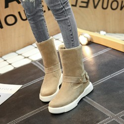 Shoespie Casual Plain Buckle Platform Ankle Boots