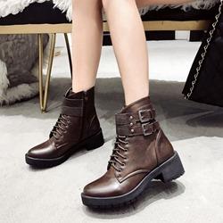 Shoespie Casual Cross Strap Platform Buckle Ankle Boots