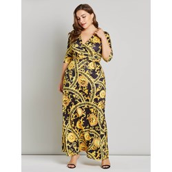 Polyester Print V Neck Plusee Women's Maxi Dress