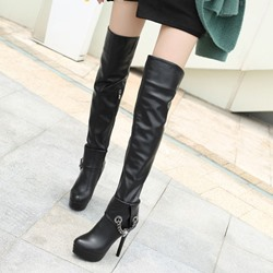 Shoespie Black Rhinestone Platform Stiletto Heel Thigh High Boots