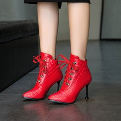 Shoespie PU Lace-Up Stiletto Heel Ankle Boots