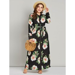 Polyester Muslim Lapel Women's Maxi Dress