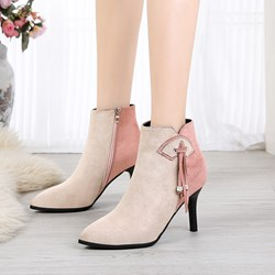 Shoespie Color Block Casual Suede Ankle Boots
