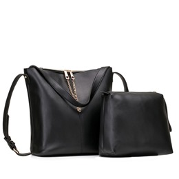 Shoespie Plain Magnetic Snap Chain Women Bag Set