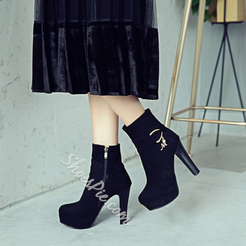 Shoespie Casual Plain High Heel Ankle Boots