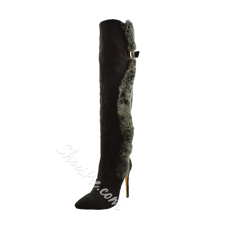 Shoespie Buckle Pointed Toe Stiletto Heel Knee High Boots