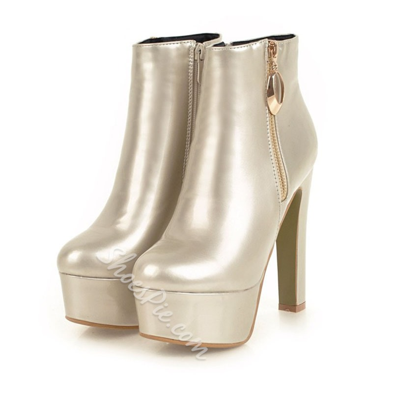 Shoespie Plain Platform Zipper Ankle Boots