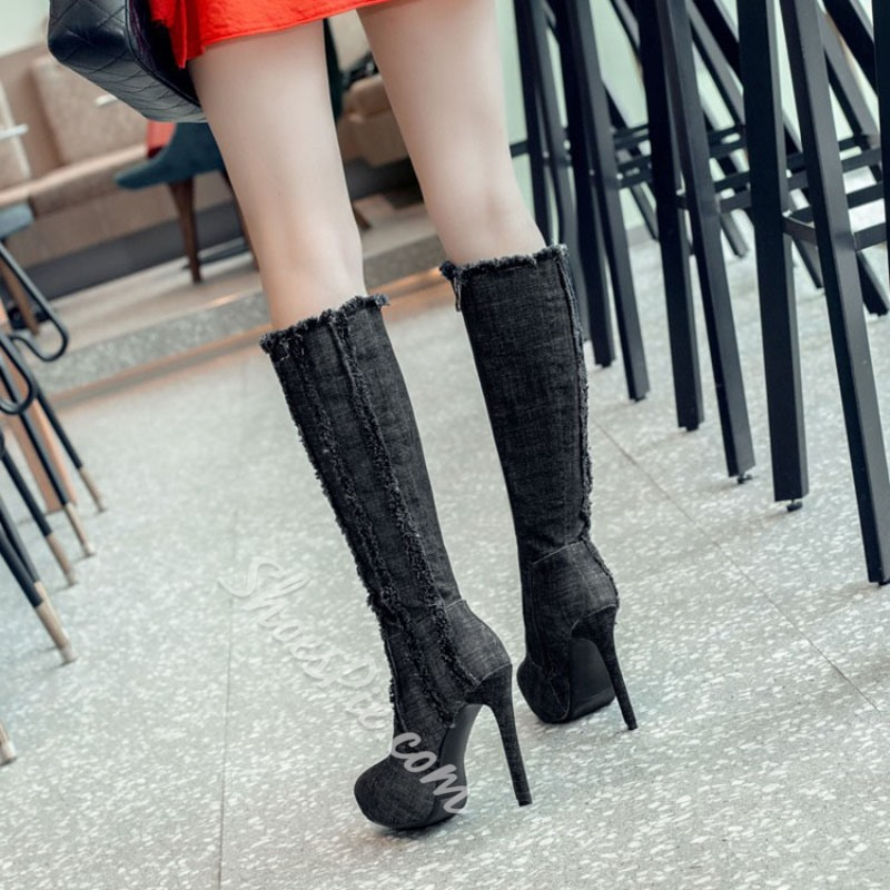 Shoespie Platform Worn Denim Stiletto Knee High Boots