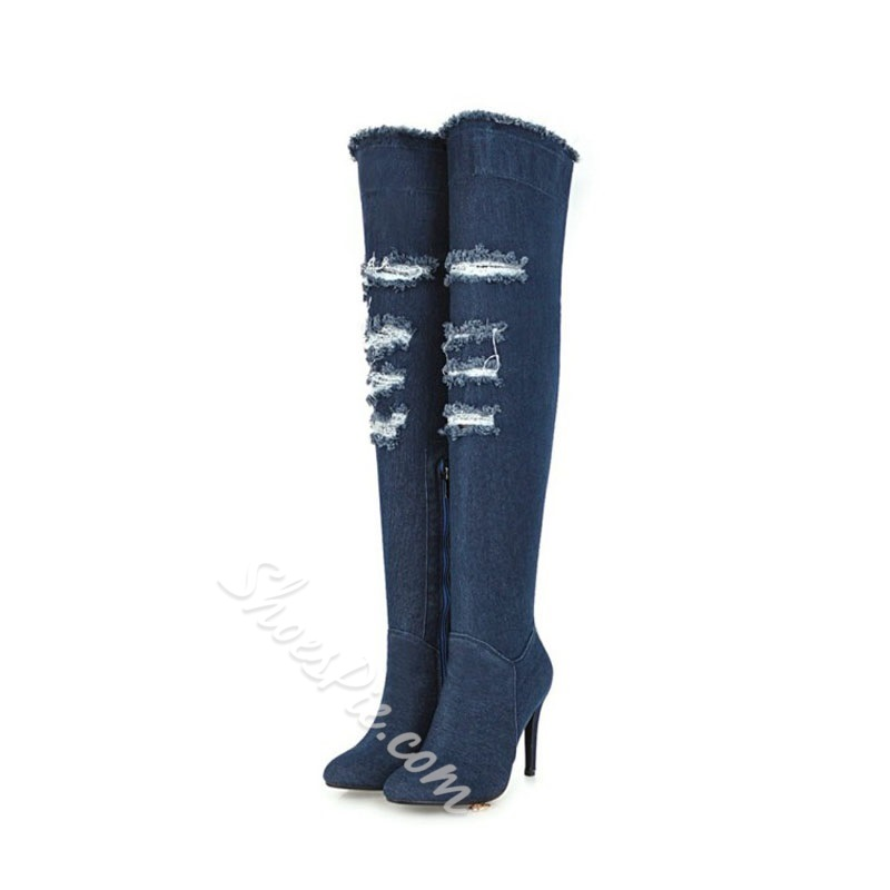 Shoespie Blue Worn Casual Stiletto Heel Thigh High Boots