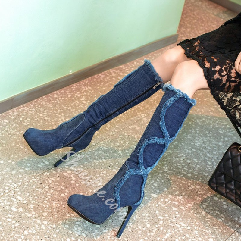 Shoespie Blue Denim Worn Knee High Boots