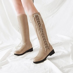 Shoespie Lace-Up Side Casual Knee High Boots