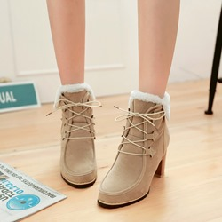 Shoespie Lace-Up Fashion High Heel Ankle Boots
