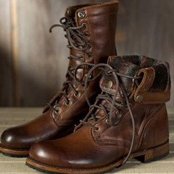 Shoespie Brown Lace-Up Stylish Ankle Boots
