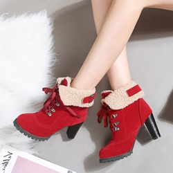 Shoespie Purfle Casual Lace-Up High Heel Ankle Boots