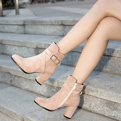 Shoespie Buckle Plain Zipper High Heel Ankle Boots