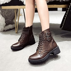 Shoespie Casual Platform Buckle Zipper Ankle Boots