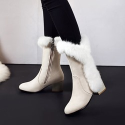 Fluffy Chunky Heel Side Zipper Snow Boots