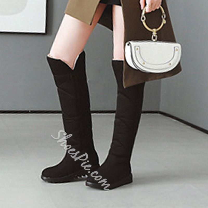 Shoespie Slip-On Platform Comfortable Knee High Boots