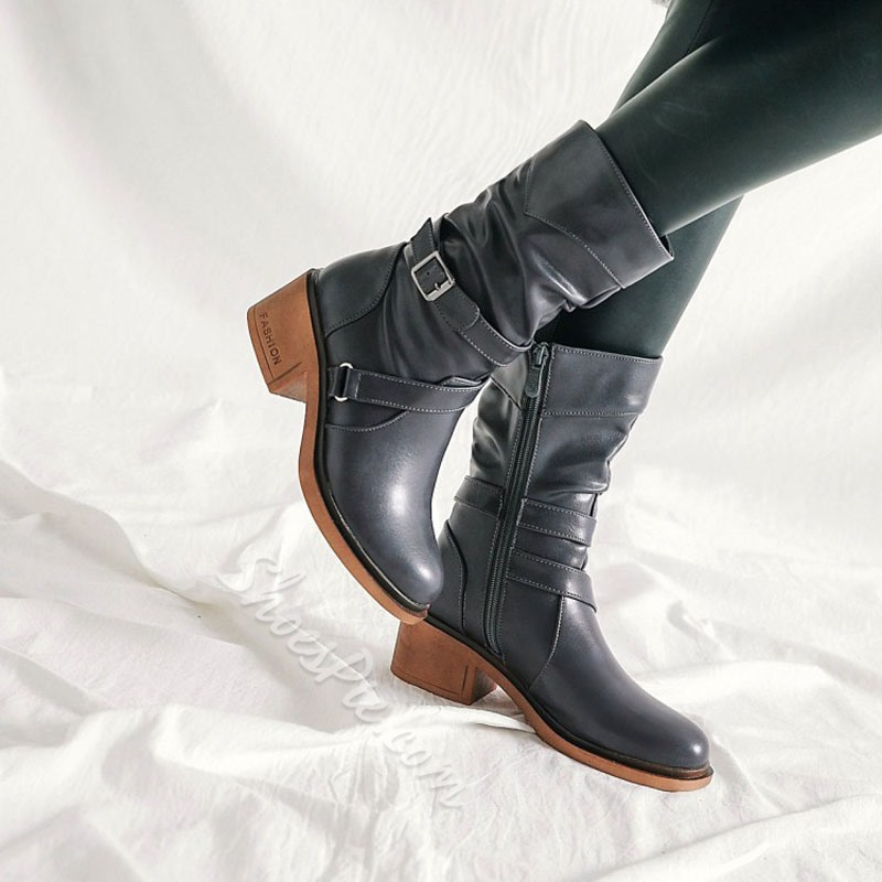 Shoespie Buckle Side Zipper Plain Motorcycle Ankle Boots