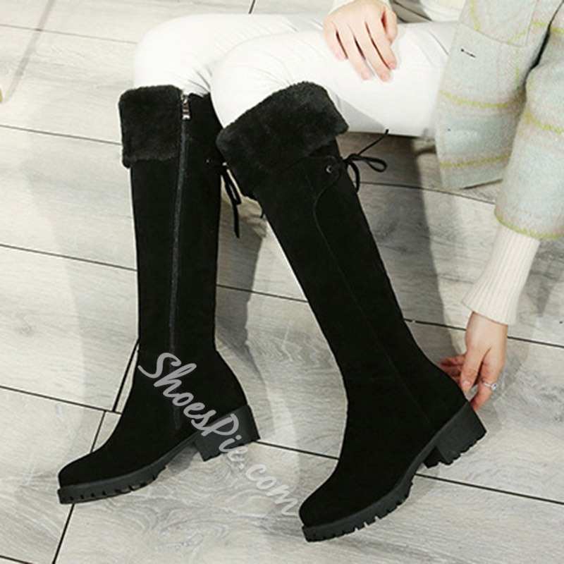 Shoespie Lace-Up Fashion Winter Knee High Boots