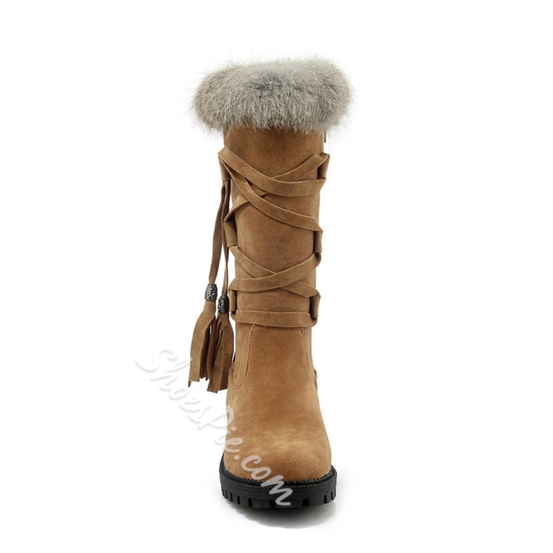 Shoespie Cross Strap Fringe Casual Knee High Boots