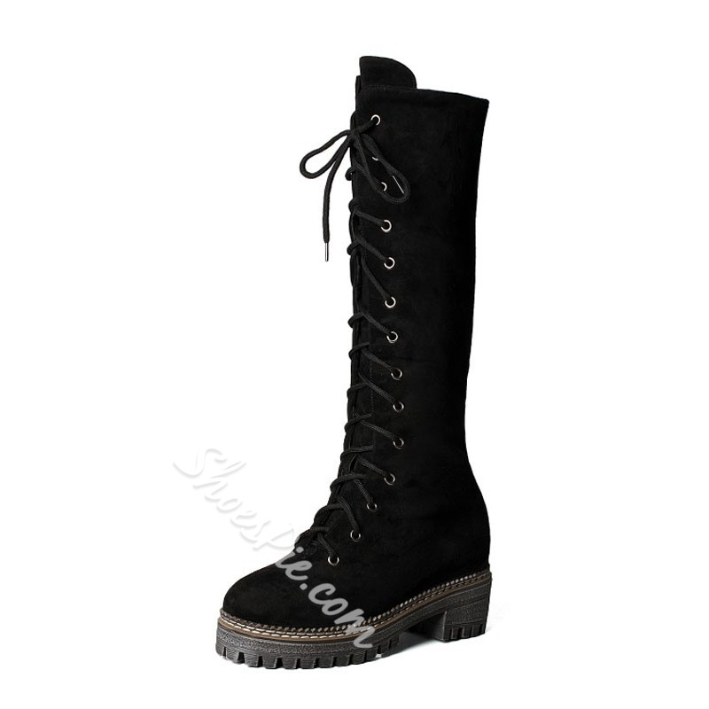 Shoespie Lace-Up Platform Knee High Boots