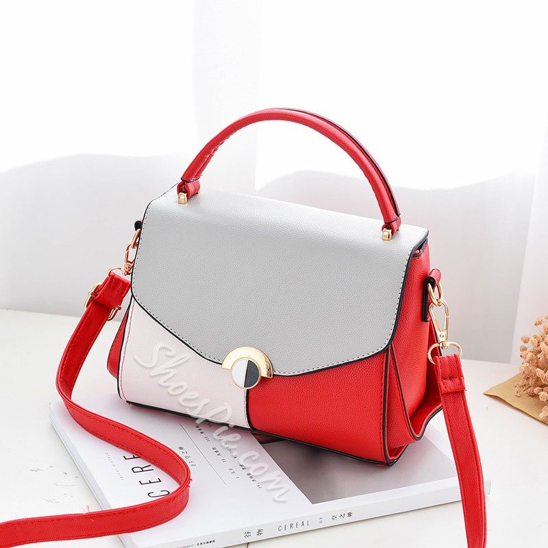 Shoespie Color Block Patchwork Soft Women Handbag