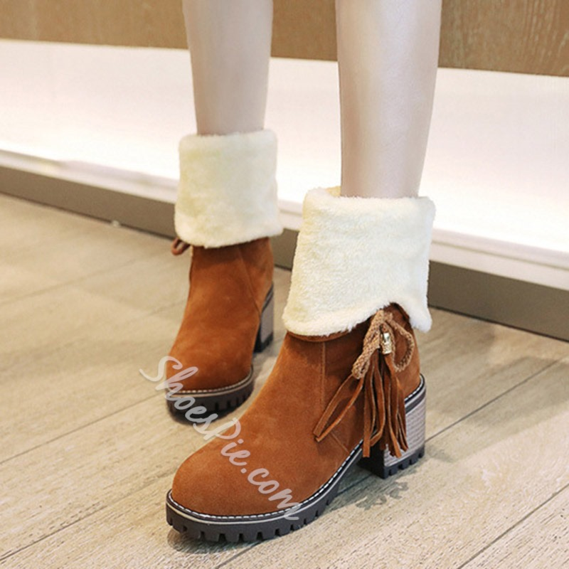 Shoespie Cute Bow Suede Winter Ankle Boots