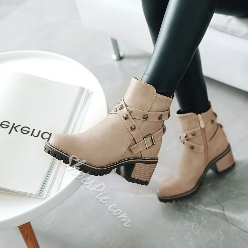 Shoespie Rivet Buckle Casual High Heel Ankle Boots