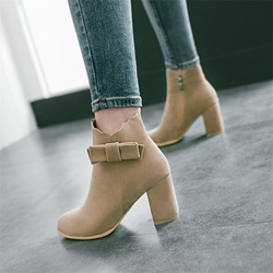 Bow Casual Side Zipper High Heels Boots