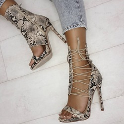 Cross Strap Serpentine Zipper Sexy Stiletto Heels
