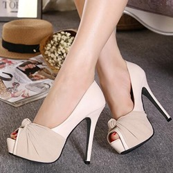Light Apricot Peep Toe Platform Slip-On Stiletto High Heels