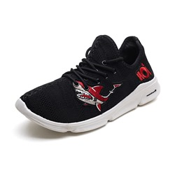 Embroidery Mesh Lace-Up Men's Sneakers