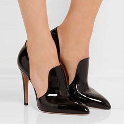 Black Slip-On Pointed Toe Stiletto Heels