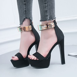 Sequin Open Toe Zipper Black Platform High Heels