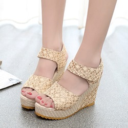 Lace Platform Peep Toe Velcro Wedge Sandals
