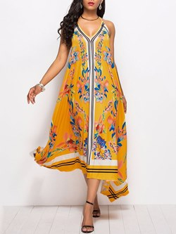 Shoespie Backless Yellow V Neck Women's Maxi Dress